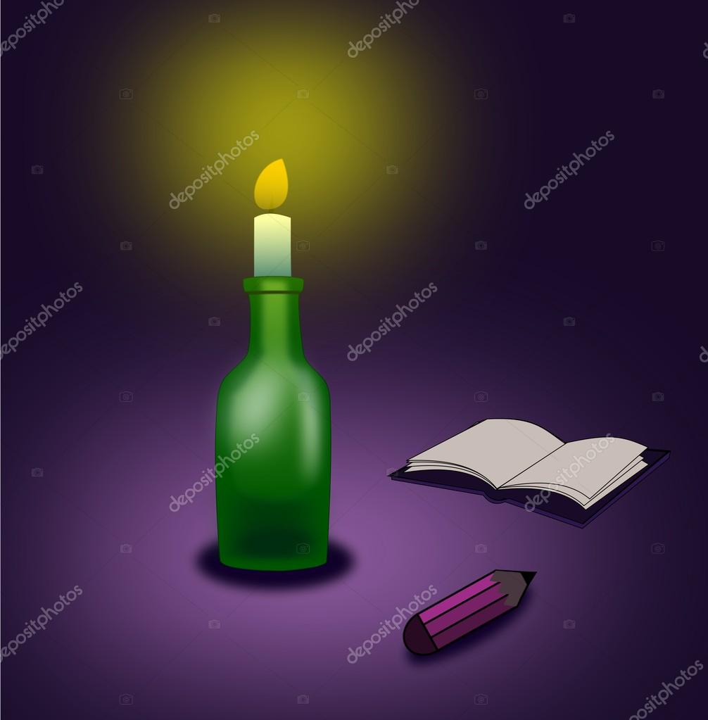 A pencil and an open book lying in the candlelight. — 图库照片 #15677507