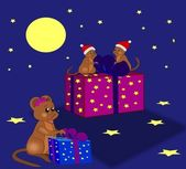 Mice with Gifts — Stock Photo