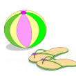 Beach Ball and Sandals - Stock Photo