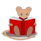 Reading Mouse — Stock Photo