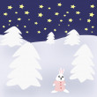 Rabbit in Winterlandscape — Stock Photo