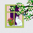 Stock Photo: Cat in the Window