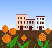 Houses and Flowers — Stock Photo