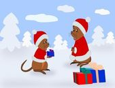 Santa Claus Mice — Stock Photo