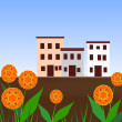 Houses and Flowers — 图库照片