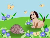 Puppy and Hedgehog — Stock Photo