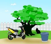Moped in the Garden — Stock Photo