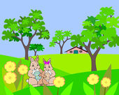 Easter hares in the garden. — Stock Photo