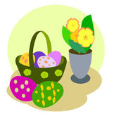 Flowers and Easter Eggs — Stock Photo