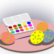 Stock Photo: Paintbox and Easter eggs.