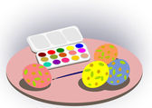 Paintbox and Easter eggs. — Stock Photo
