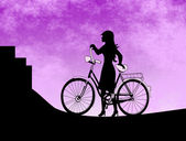 Girl  with Bicycle — Stockfoto