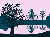 Girl with Bicycle — Stock Photo