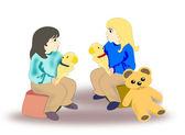 Girls with Teddy Bears — Stock Photo