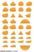 Geometric orange sticker set — Stock Vector