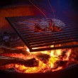 Two steaks grilling on campfire at night - Stock Photo