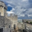 San Marino first tower and the courtyard: la Rocca or Guaita - Stock Photo