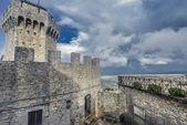 San Marino first tower and the courtyard: la Rocca or Guaita — Stock Photo