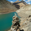 Stock Photo: Mountain lake with Buddhist stupat forefront