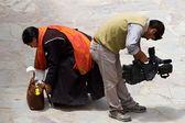 Believer and operator at mak dance festival in Hemis monastery ( — Stock Photo