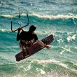 Splashing kitesurfing — Stock Photo
