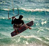 Splashing kitesurfing — Stock Photo
