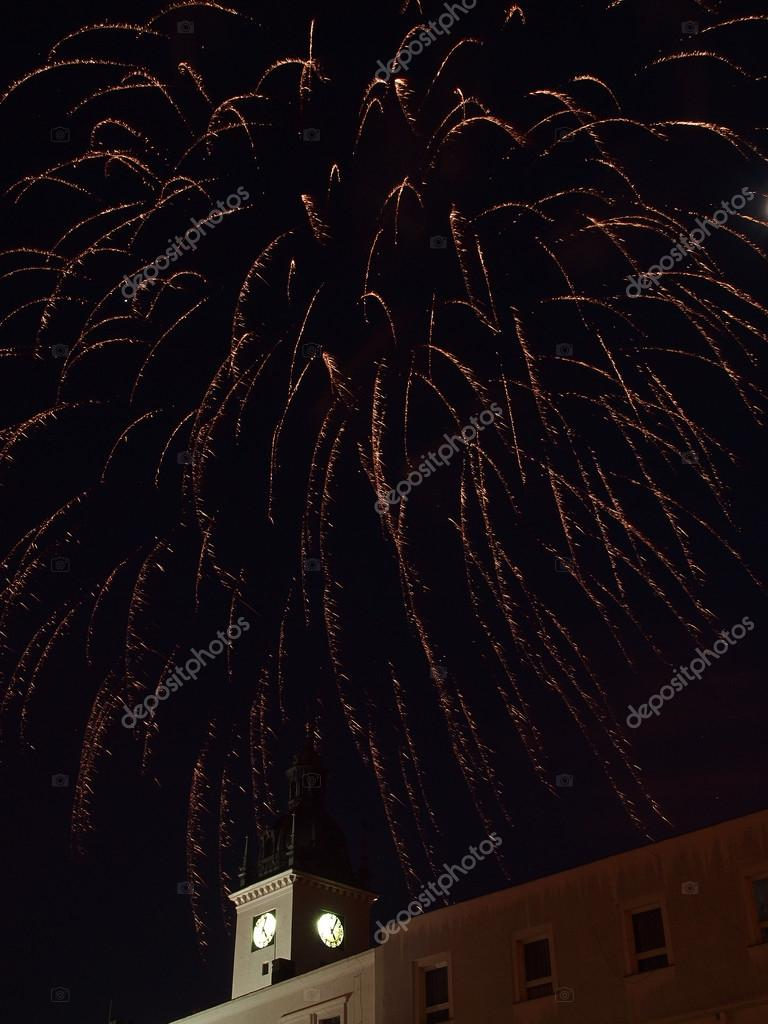The fireworks over historical tower  Stock Photo #15006305
