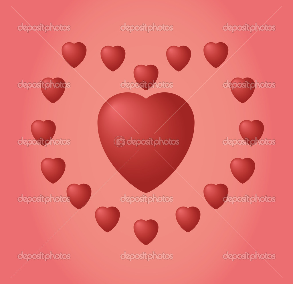 Valentine's day card with hearts. Vector Illustration. EPS10 — Stock Vector #19470793