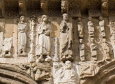 Romanesque christ and apostle in Platerias — Stock Photo