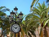 The clock on the palm square — Stock Photo