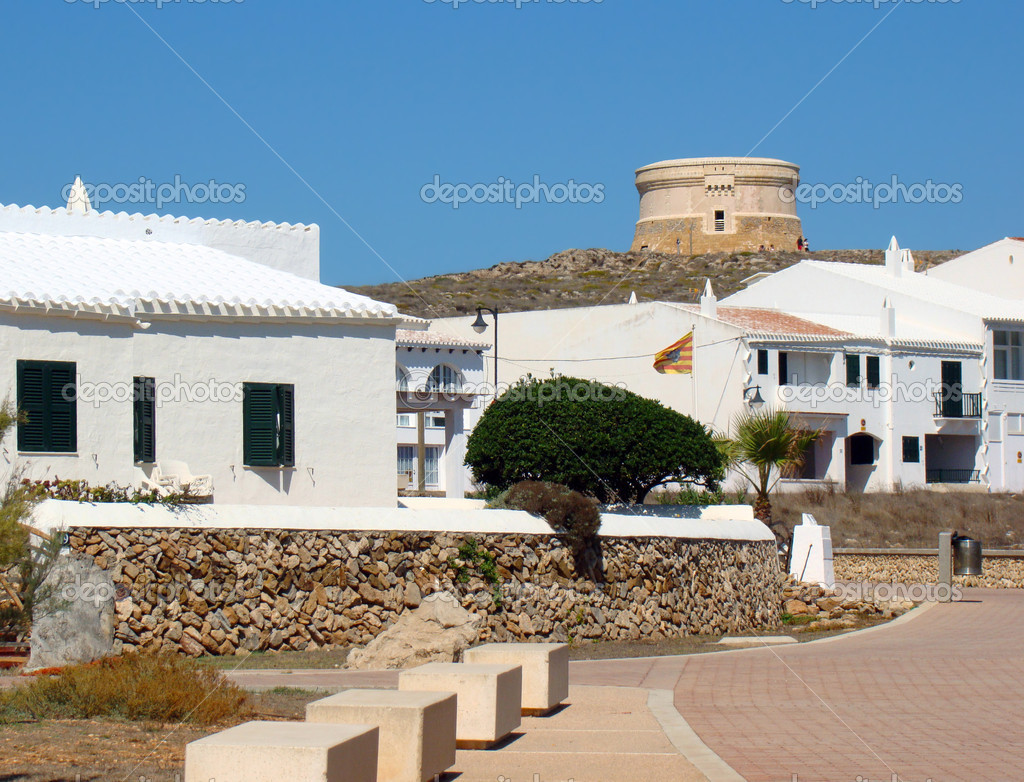 The town of Fornells with the Martello Tower in the background, Menorca, Spain — Stock Photo #14478525