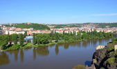 View from the southern tip of Vysehrad fortress on the river Vltava — Stock Photo