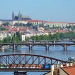 View of Prague Castle across the river Vltava — Stock Photo