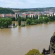 Stock Photo: Flooding in Prague. Swollen river Vltava.
