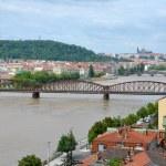 Railway bridge over the Vltava River — Stock Photo