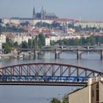 Railway bridge and Palacky bridge over the Vltava River — Stock Photo