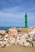 A solar beacon on the coast — Stock Photo