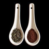 Green tea versus coffee — Stock fotografie