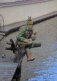 PRAGUE - FEB 23: Wooden statue of water goblin — Photo