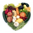 Eat Your Antioxidants. Heart shape by various vegetables and fruits — Stock Photo