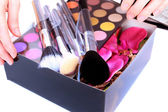 Gift Box with makeup inside — Stock Photo