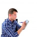 Man preparing a list — Stock Photo