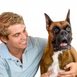 Boy and his dog — Stock Photo