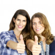 Showing thumbs Up — Stock Photo