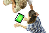 Using a Digital Tablet — Stock Photo