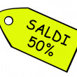 Stock Photo: Sale 50% Yellow price target in italian.