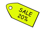 Price target with sale 20%. — Stock Photo