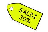 Vendita 30% giallo prezzo obiettivo in italiano. — Foto Stock