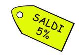 Prodej 5 % žlutá cena cíl v italštině. — Stock fotografie