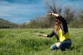 Girl in yellow blouse — Stock Photo